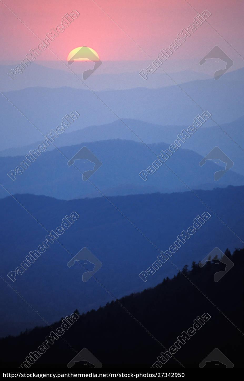wschód, słońca, southern, appalachian, mountains, wielki, smoky, mountains - 27342950