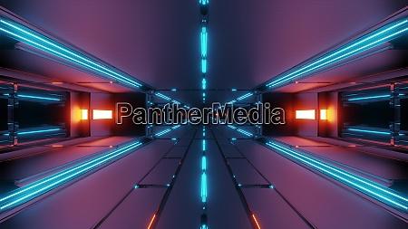 ciemny, futurystyczny, korytarz, tunelu, kosmicznego, 3d - 27345075