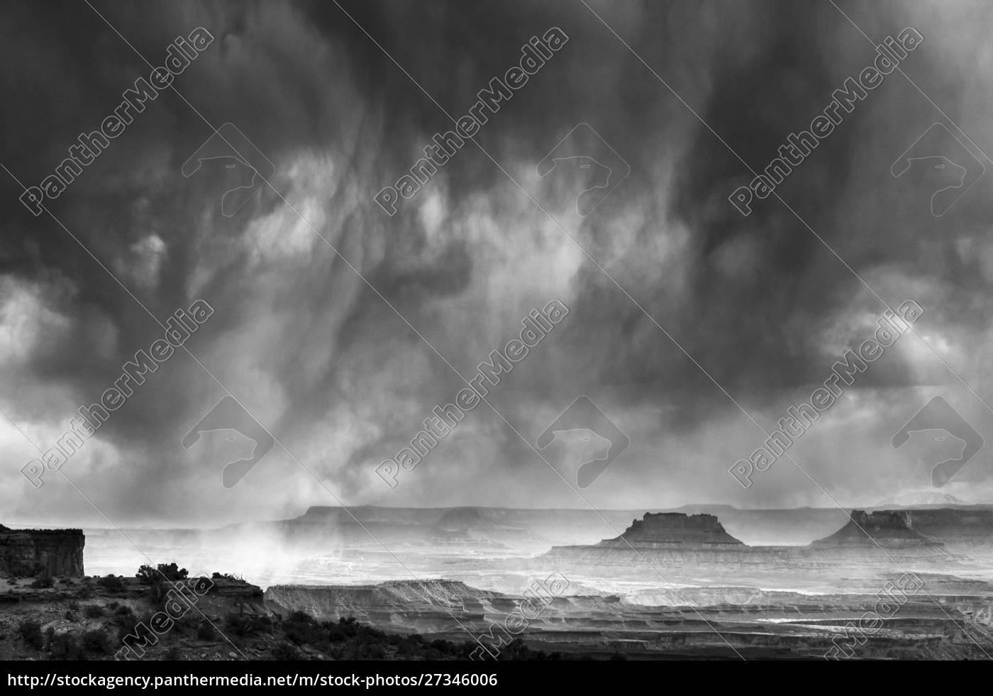 usa, utah., parku, narodowego, canyonlands., czarno-biały, wizerunek - 27346006