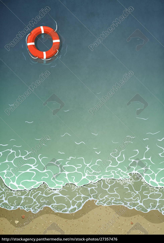 pierścień, życia, unoszący, się, w, wodzie - 27357476