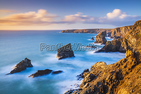 sunset bedruthan steps sea stacks at