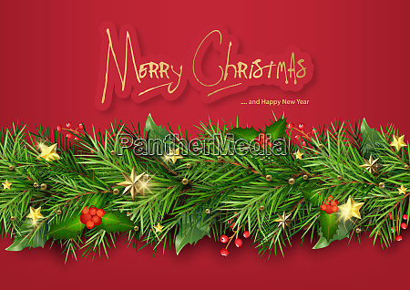red christmas background with christmas tree