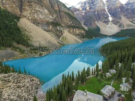 aerial view of lake moraine in