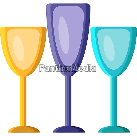 three glasses vector color illustration