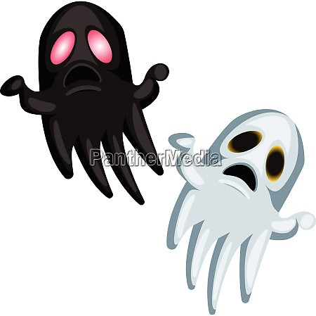 white and black scary halloween ghosts