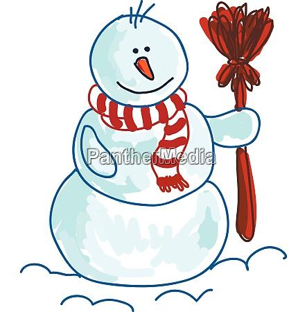 a snowman wearing muffler vector or