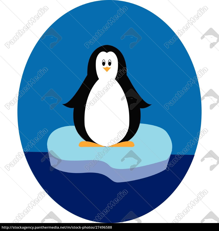 pingwin, stojący, na, ilustracji, iceberg, wektor - 27496588