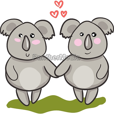 two cartoon koalas in love with
