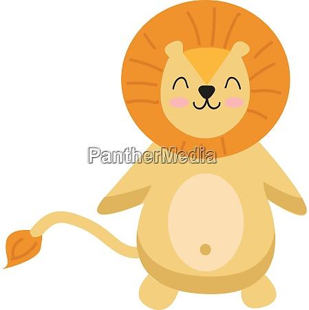 a beaming cartoon lion vector or
