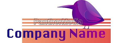 chubby purple bird logo vector illustration