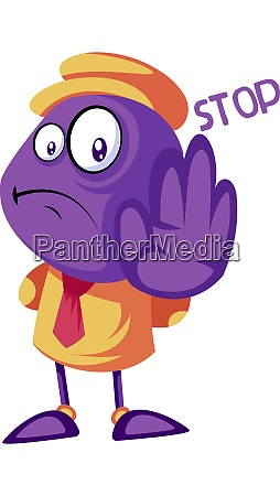 purple creature holding hand and saying