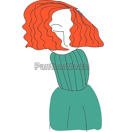 short red haired girl illustration vector