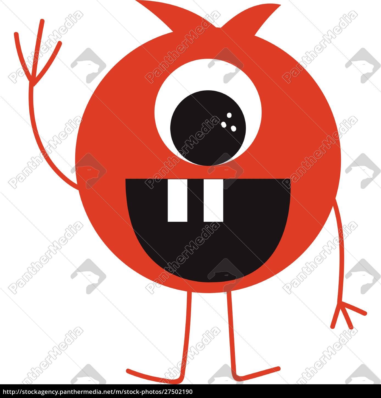 Śmieszne, potwór, wektor, lub, kolor, ilustracji - 27502190