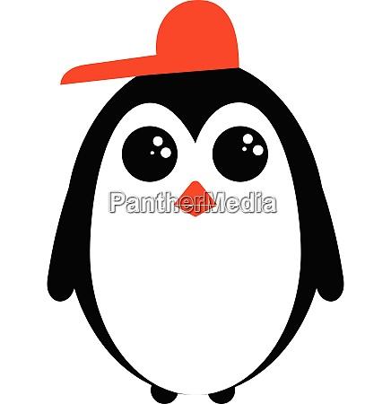 cute little penguin in a red