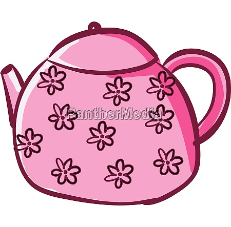 clipart of a pink colored teapot