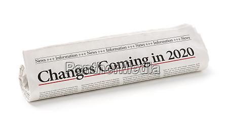 gazeta walcowana z naglowkiem zmiany nadchodza
