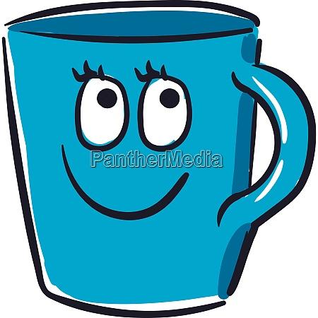 happy blue cup vector or color
