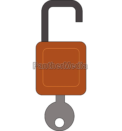 brown color open lock with grey