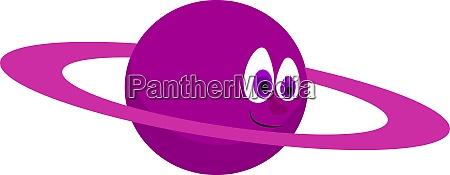 purple planet illustration vector on white