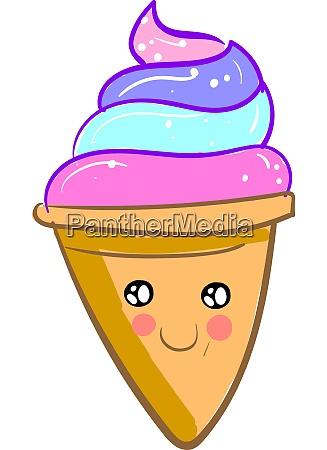 a cute ice cream twirl vector