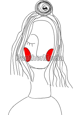 a girl with red cheeks vector