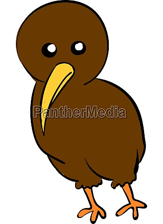 cute brown kiwi illustration vector on