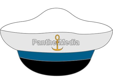 white sailor hat illustration vector on