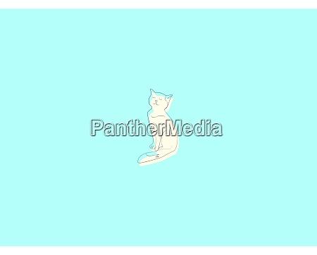 white kitty illustration vector on white