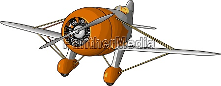orange old retro plane illustration vector
