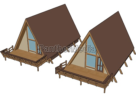 brown wooden house illustration vector on