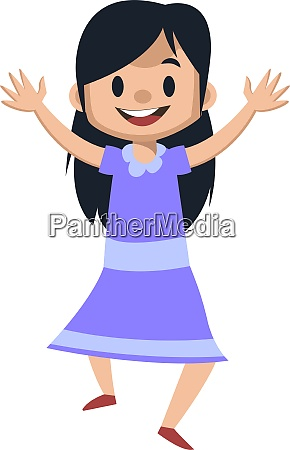 cute girl jumping illustration vector on