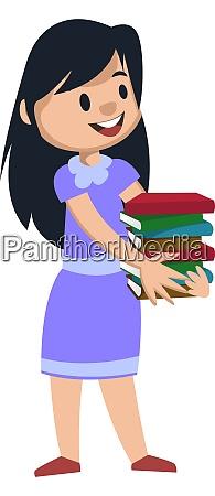 girl holding books illustration vector on
