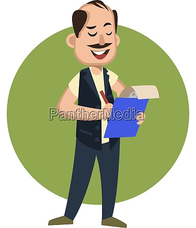man with pen and notebook illustration