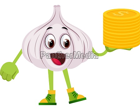 garlic with coins illustration vector on