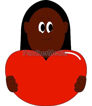 girl holding big heart illustration vector