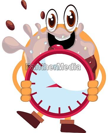 donut holding clock illustration vector on