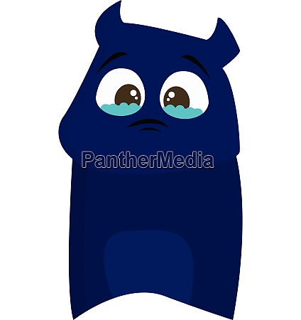 blue sad monster vector or color