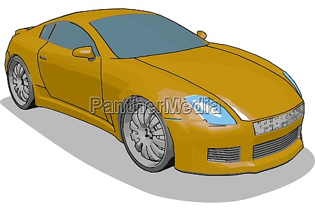 orange luxury car illustration vector on