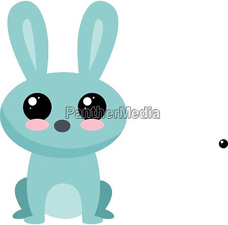 blue rabbit illustration vector on white