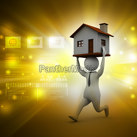 3d man holding house on his