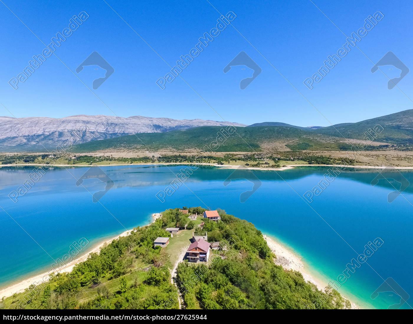 widok, z, lotu, ptaka, na, jezioro - 27625944