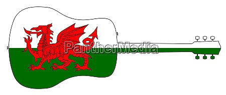 sylwetka, gitary, akustycznej, z, walijską, flagą - 27628934