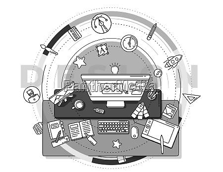 szczegolowy plakat promocyjny ilustrujacy zawod projektanta