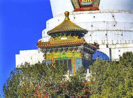 white stupa colorful memorial beihai park