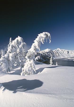 usa oregon crater lake np snow