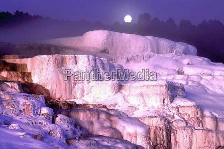 usa wyoming yellowstone national park moonset