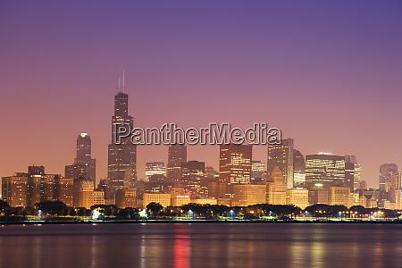 usa illinois chicago sunrise skyline and