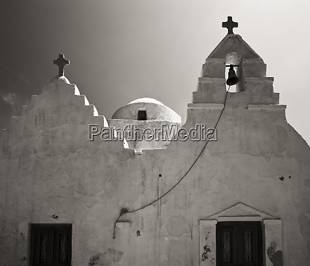 greece mykonos church steeples and crosses