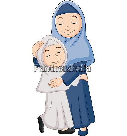 muzulmanska matka i corka przytulanie
