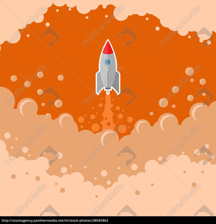 kosmiczna, rakieta, latać, na, czerwonym, tle - 28045862